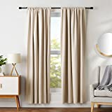 AmazonBasics Room Blackout Window Panel Curtains - Pack of 2, 52 x 84 Inch, Beige