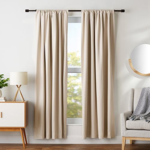 (AmazonBasics Room Blackout Window Panel Curtains - Pack of 2, 52 x 84 Inch, Beige)