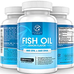 Fish Oil Pills - Extra Strength Omega 3 Supplements with EPA + DHA & 2400 mg Fatty Acids - Lemon Flavored for No Fish Burps - Supports Immune System, Joints, Inflammation & Weight Loss - 120 Count