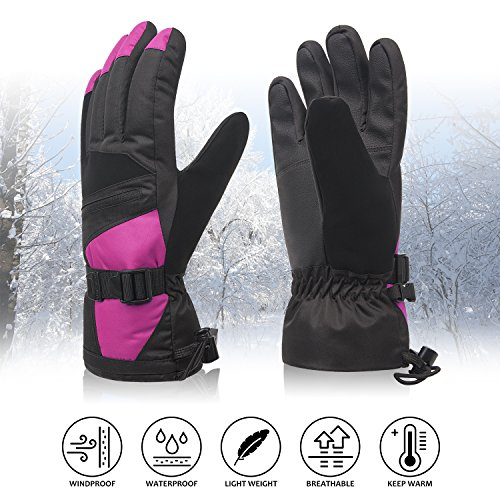 Womens Winter Waterproof Ski Gloves The Warmest 3M Insulation Outdoor Windproof Snowboarding Mittens Pink