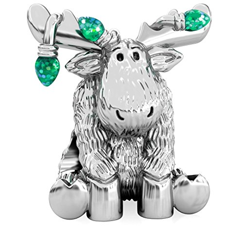Authentic BELLA FASCINI Christmas Moose Tangled in Lights Charm Bead - 925 Silver - Fits Bracelet - Green