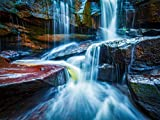 Waterfall on Stones in Cambodia National Park Wall Mural Non-Woven Photo Wallpaper MADE in EUROPE for Living Room Family Room Bedroom, 11'10''(H) x 8'10''(V) (360x270 cm)