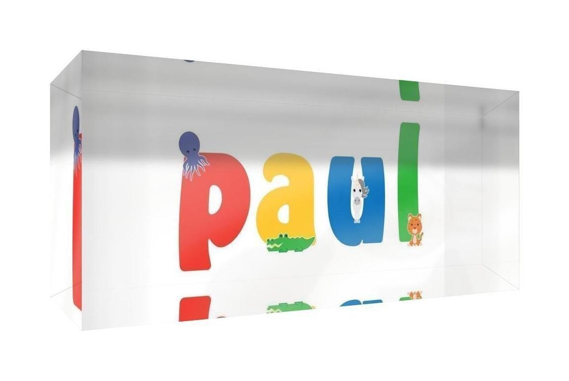 Little Helper Souvenir D/écoratif en Acrylique Transparent Poli comme Diamant Style Illustratif Color/é avec le Nom de Jeune Gar/çon Paul 5 x 15 x 2 cm Petit