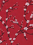 Nepalese Peach Blossom Paper- White Flowers on Red Paper 19x29.5 Inch Sheet