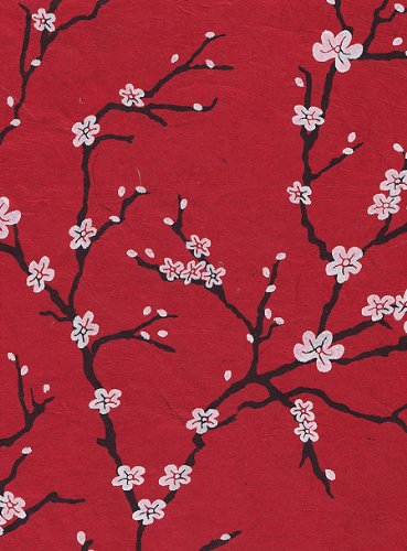 Nepalese Paper - Nepalese Peach Blossom Paper- White Flowers on Red Paper 19x29.5 Inch Sheet