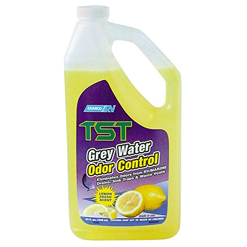 Camco-TST-Lemon-Scent-RV-Grey-Water-Odor-Control-Stops-Sink-Trap-Odors-For-Use-In-Drains-Sink-Traps-and-Waste-Vents-Treats-up-to-8-40-Gallon-Holding-Tanks-32-Ounce-Bottle