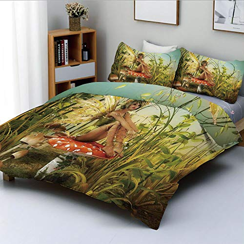(Duplex Print Duvet Cover Set King Size,Little Fairy Elf with Wings Flying and Mushroom in The Enchanted Forest Birds Party Art PrintDecorative 3 Piece Bedding Set with 2 Pillow Sham,Best Gift for Kid)