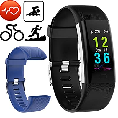 IP68 Waterproof Watch Activity Fitness Tracker For Swim Heart Rate Monitor Sleep Smart Ring Alarm Kids Women Walk Step Tracker Counter Pedometer Replacement Band USB Charging (Black+Blue Band)