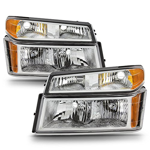 - ACANII - For 2004-2012 Chevy Colorado GMC Canyon Headlights w/Corner Lights Parking Lamps [4PC Set] Driver + Passenger