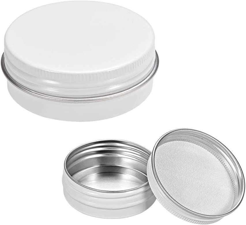 uxcell 2oz Round Clear Window Aluminum Cans Tin Can Screw Top Metal Lid Containers 60ml 3pcs