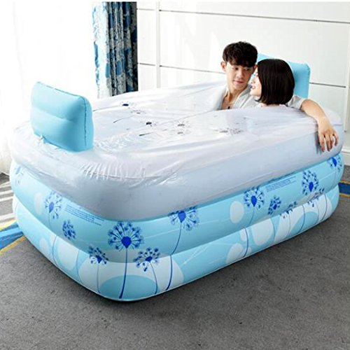 Bathtubs Freestanding Inflatable Bath Tub Adult Tub Stylish Home Bath Comfortable Folding Bath Tub Passion Double Couple Inflatable Blue Inflatable, Relieve Fatigue by Bathtubs (Image #3)