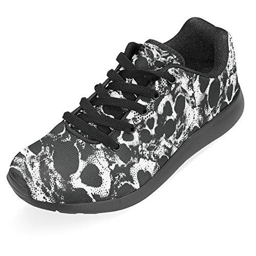 Interestprint Kvinna Jogging Kör Sneaker Lättvikts Gå Gång Casual Komfort Löparskor Svartvit Skalle Grunge Seamless Multi 1