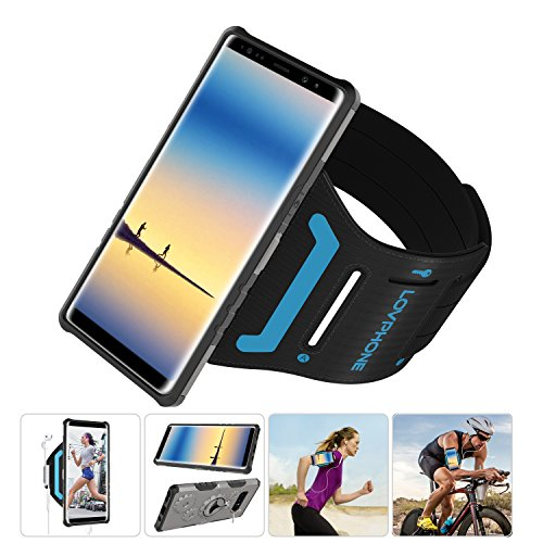 Samsung Galaxy Note 8 Armband & Armour Case Set with QuickMount-LOVPHONE Sport Running Armband + Premium Protective Case with Kickstand for Galaxy Note 8,Soft Elastic Strap with Key Holder(Gunmetal)-S ()