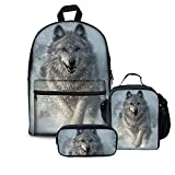 FOR U DESIGNS Backpack Junior Boys Girls Middle School Bags Set with Lunch Box Pencil Holder Wolf Face