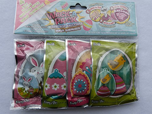 Easter Egg Wack-a-pack Balloon Surprise! 2 Pack of 4 Self-inflating Foil Balloons- Various Designs