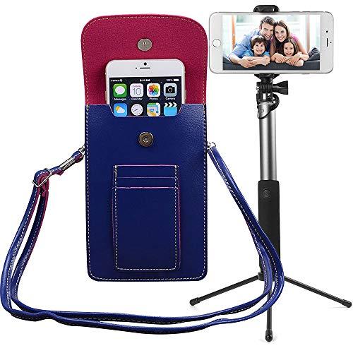 Bundle: Vegan Leather Vertical Crossbody Smartphone Pouch Wallet (Blue) & Selfie Stick Mini Tripod 2.0 (Silver) - for Smartphones up to 6.5-inch, Removable Adjustable Shoulder Strap ()