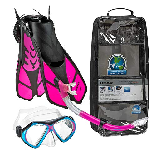 HEAD Italian Collection Sailor Splash Quest Superior Mask Fin Snorkel Set with Snorkeling Gear Bag, Pink - S/M