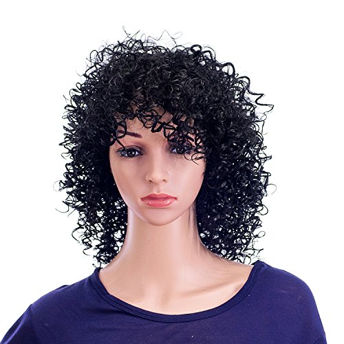 SWACC 12-Inch Short Big Bouffant Curly Wigs for Women Synthetic Heat Resistant Fiber Hair Pieces with Wig Cap (1B-Off -