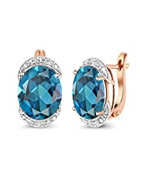 Gem Stone King 10.54 Ct London Blue Topaz with Diamond Accent 10K Rose Gold Earrings