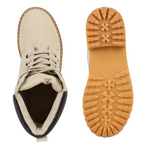 Stiefelparadies Unisex Gefüttert Damen Herren Worker Boots Outdoor Schuhe Profil Sohle Flandell Creme Creme Carlton