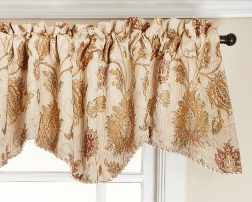 hion Melbourne Chenille Scalloped Valance with Cording, Ivory, 52-Inch by 17-Inch (Chenille Ivory Fabric)