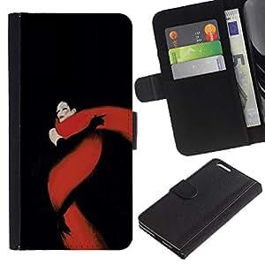 [Neutron-Star] Modelo colorido cuero de la carpeta del tirón del caso cubierta piel Holster Funda protecció Para Apple (5.5 inches!!!) iPhone 6+ Plus / 6S+ Plus [Negro Rojo Fatal Glamorous]