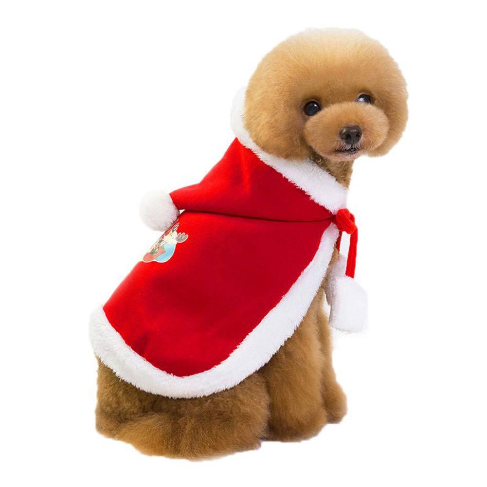 Zantec Abbigliamento per Cani Vestiti Simpatici Mantello di Babbo Natale per Cani/Gatti, Taglia S