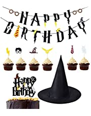 Kreatwow Harry Potter Party Supplies Bannière d'anniversaire Cupcake Toppers Assistant Chapeau Cake Topper pour décorations d'anniversaire