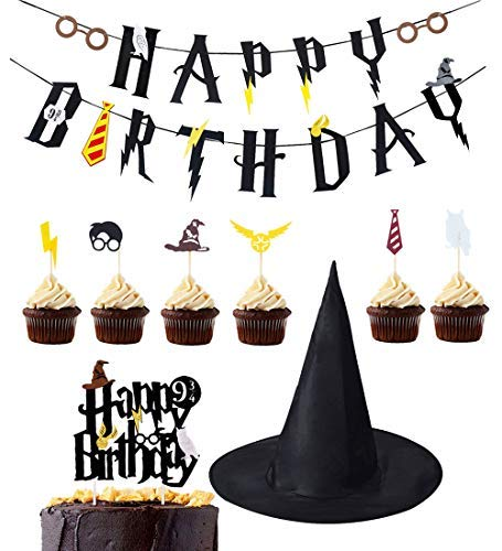 - KREATWOW Wizard Birthday Party Supplies Birthday Banner Cupcake Toppers Wizard Hat Cake Topper for Birthday Decorations