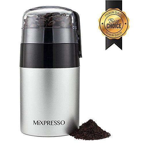 Electric Coffee Grinder   Powerful 150W Motor with Double Stainless Steel Blades   Large Capacity For Beans, Seeds & Spices   Removable Safety Lock & One-Touch Control   Maximize Coffee Flavor & Aroma