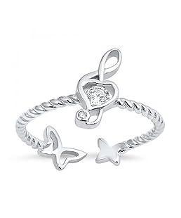 Nota esterlina de plata de la música y de la mariposa del anillo de circonio cúbico - Tamaño, 4 (14,05 mm)