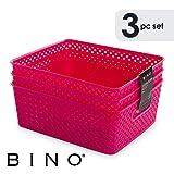BINO Woven Plastic Storage Basket (Pack of 3- L, Hot Pink)