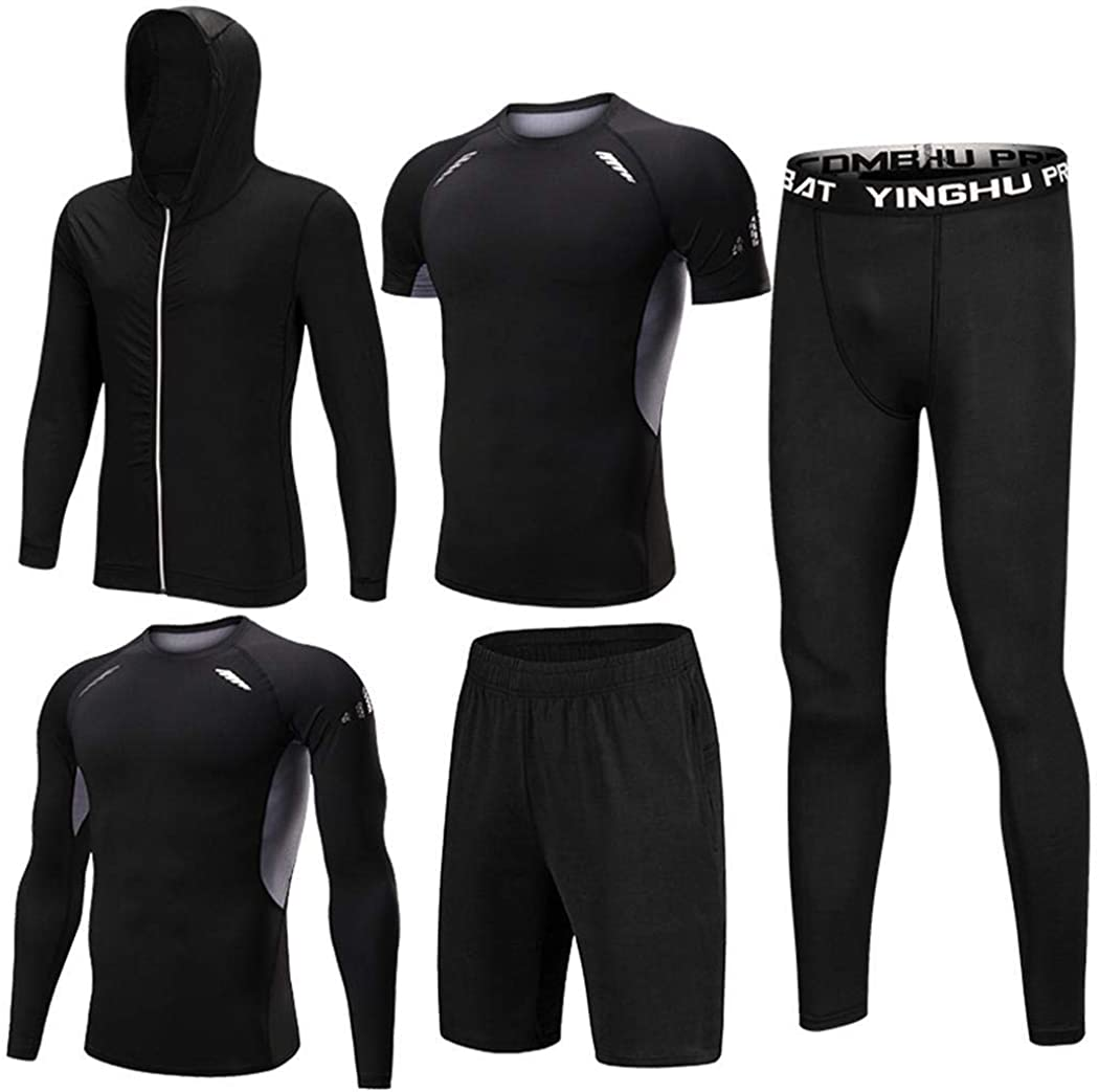 Ultrey Man 5 Pieces Fitness Gym Sports Suits for Men Sports Wear Compressive Jerseys and T-Shirts Trousers Compression Tights Clothes
