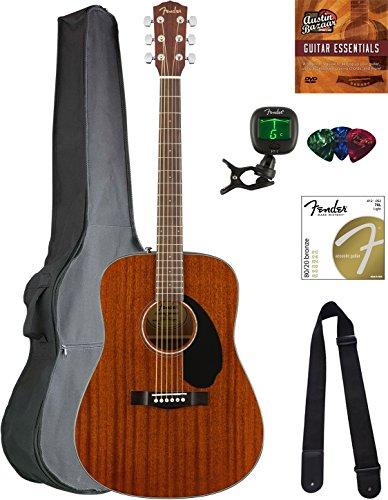 Dreadnought Mahogany Acoustic Guitar - Fender CD-60S Dreadnought Acoustic Guitar - All Mahogany Bundle with Gig Bag, Tuner, Strap, Strings, Picks, Austin Bazaar Instructional DVD, and Polishing Cloth