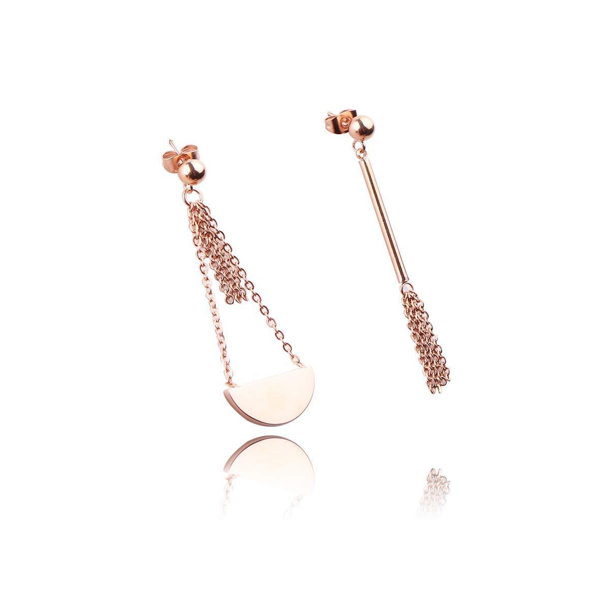 REEBOOOR Shield Paddle Earring Tassels Stud Earrings 18K Rose Gold Geometric Multi-Layer Drop Dangle Statement Earrings