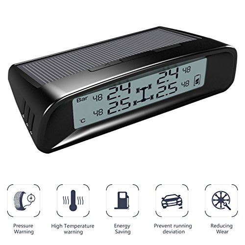 TYDO Solar Powered TPMS Wireless Tire Pressure Monitoring System 4 Sensors DIY Tire Gauge With Auto Alarm System Real-time Displays for RV Trailer, External Sensor by TYDO (Image #2)
