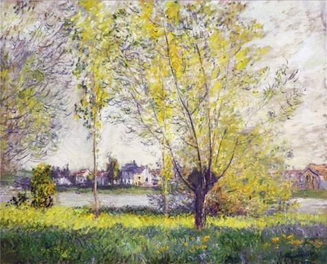 High Quality Polyster Canvas ,the Beautiful Art Decorative Prints On Canvas Of Oil Painting 'The Willows, 1880 By Claude Monet', 16x20 Inch / 41x50 Cm Is Best For Kids Room (Halloween Math Puzzle Worksheet)