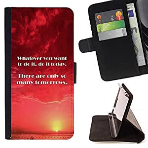 DEVIL CASE - FOR Apple Iphone 6 PLUS 5.5 - Today Tomorrow Now Moment Do Quote - Style PU Leather Case Wallet Flip Stand Flap Closure Cover