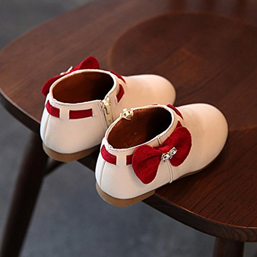 wuayi Baby-Krippe PU-lederne Troddeln Bowknot-Schuhe Kleinkind-Turnschuhe beiläufige Schuhe Beige