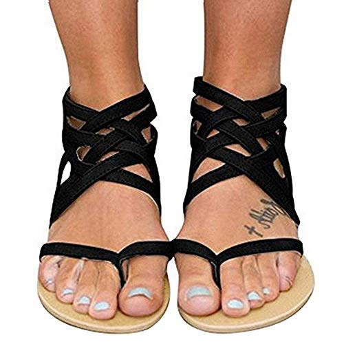Womens Gladiator Strappy Flat Open Toe Lace Up Criss Cross Strap Ankle Wrap Summer Beach Thongs Sandals (11 M US, I Black)