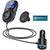 Bluetooth FM Transmitter with One Key Control,Acekool Wireless Car Radio Adapter Receiver Hands-free Call with QC3.0 and Dual USB Ports,1.44'' Display,TF Card Mp3 Player [Air Vent Holder Include]