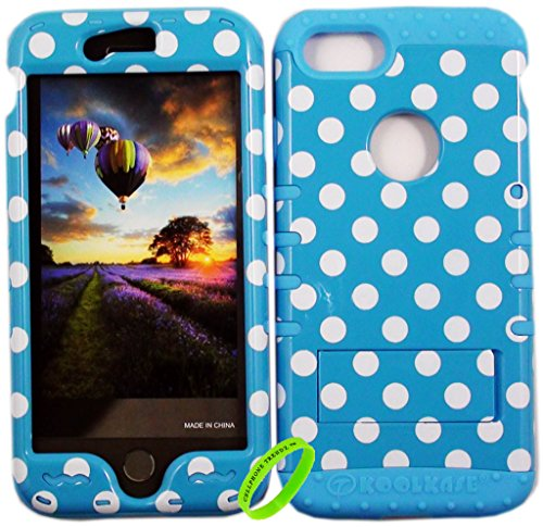 Dot Silicone (iPhone 7 Case Cellphone Trendz Hybrid Tuff Rocker Impact Shockproof Cover Hard Armor Shell and Soft Silicone - White Polka Dots On Blue On Blue)