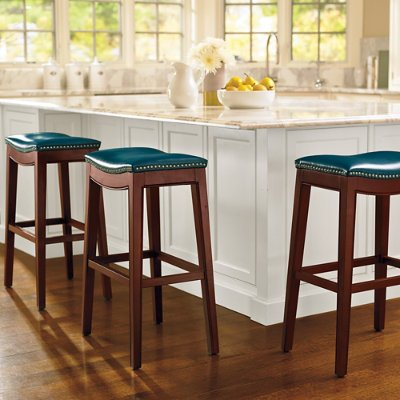 Amazon Julien Leather Bar Stool Blue Counter Height Grandin Road Kitchen Dining
