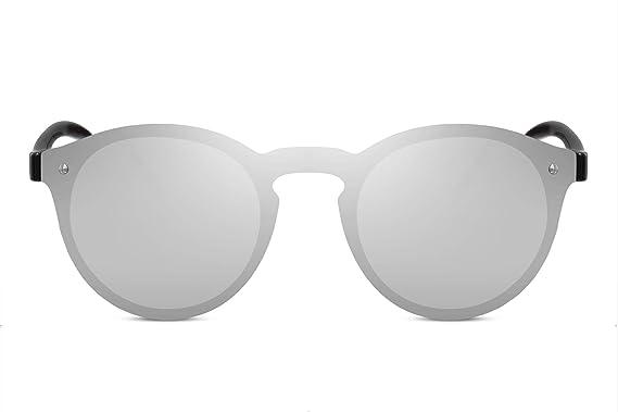 52284b63a577b8 Cheapass Lunettes de soleil Rondes Monture argentée Verres effet miroir  Monopièce Hommes Femmes Protection UV400