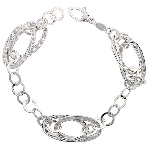 Sterling Silver Italian Interlocking Striped Oval Link Bracelet, 7.5 inches long