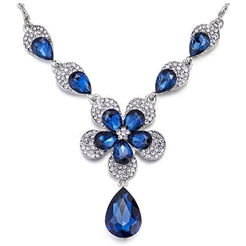 iMECTALII Blue White Rhinestone Crystal Petal Flower Teardrop Bridal Wedding Party Statement Pendant Necklace