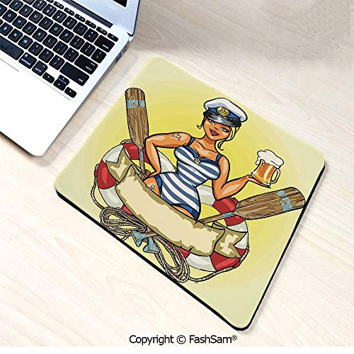 Mouse Pads Pin Up Sexy Sailor Girl Lifebuoy with Captain Hat and Costume Glass of Beer Feminine for Home(W7.8xL9.45)]()
