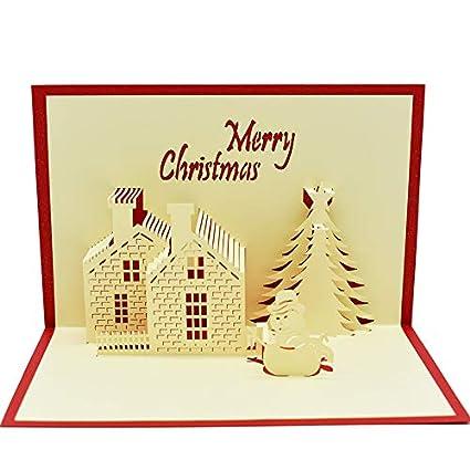 Tarjeta De Felicitación De Navidad Diseño De Castillo 3d