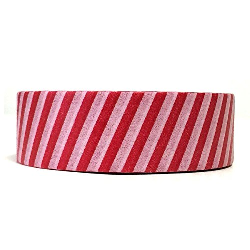 Allydrew Decorative Washi Masking Tape, Red and White Stripes