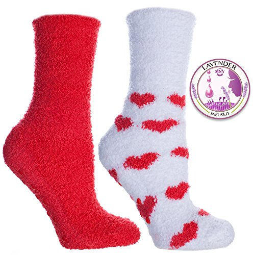 Girls Red And Gold Super Boots (Lavender Infused Slouchy Socks with non slip / non skid bottoms red by Minx, 2 Pair Gift Set (Red/White))